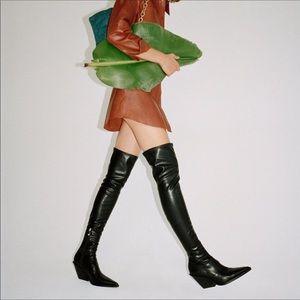 Zara Black Over The Knee Cowboy Boots SZ 7.5